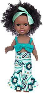 mignone poupée noire avec vêtements bleus